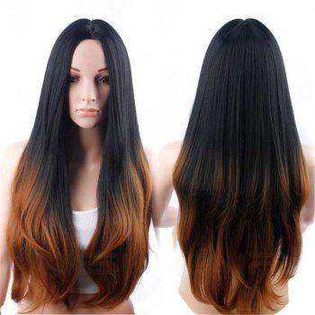 CHICSHE Synehetic Long Ombre Wigs for Women Wavy Black Brown Hair - 6