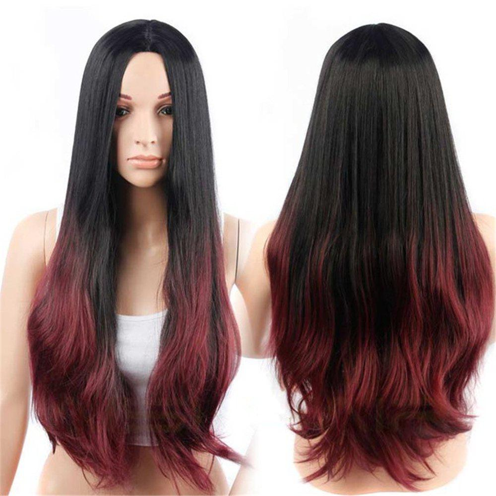 CHICSHE Synehetic Long Ombre Wigs for Women Wavy Black Brown Hair -