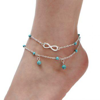 Multi-Layered Fasion Turquoise Anklet - SILVER SILVER