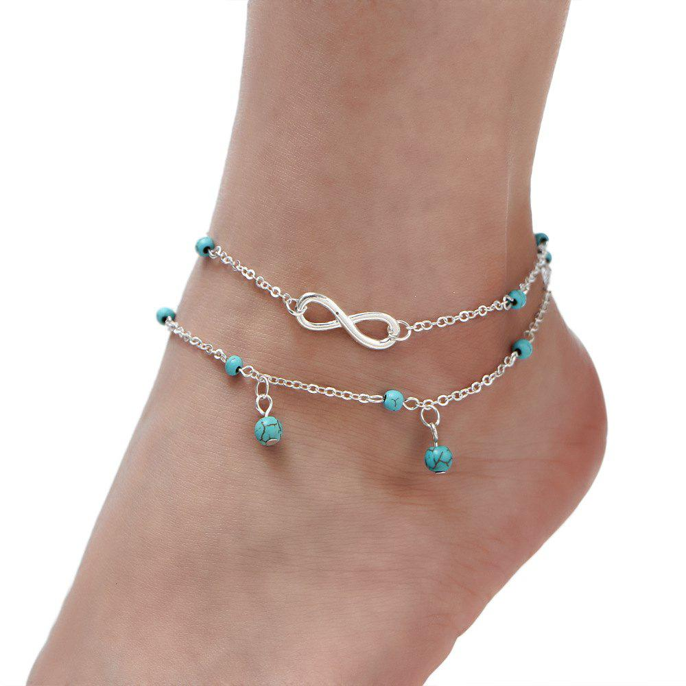 Multi-Layered Fasion Turquoise Anklet - SILVER