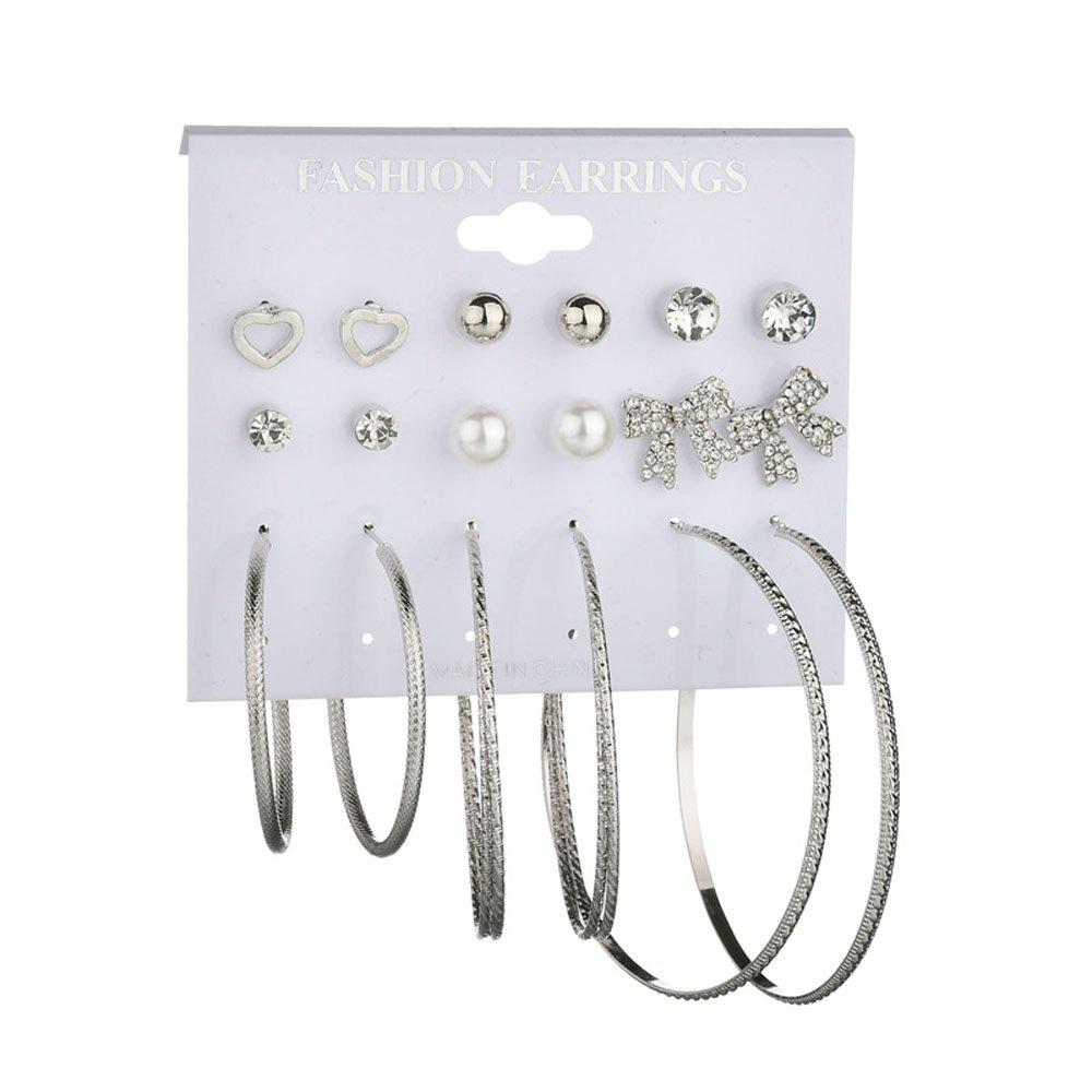 Bowknot Big Heart Personalized Earring Set - SILVER