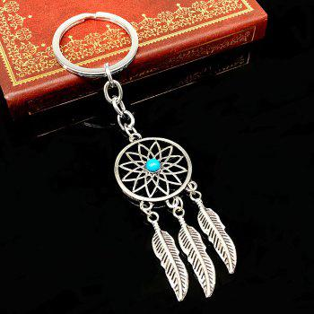 Leaves Feather Tassel Turquoise Pendant Keychain - SILVER