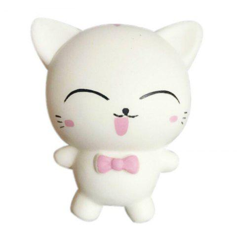 Squishys Slow Rising Stress Relief Soft Toys Replica Mini Cute Cat with Tie - WHITE