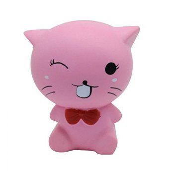 Squishys Slow Rising Stress Relief Soft Toys Replica Mini Cute Cat with Tie -  PINK