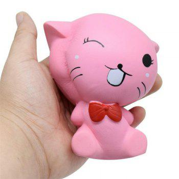 Squishys Slow Rising Stress Relief Soft Toys Replica Mini Cute Cat with Tie - PINK PINK