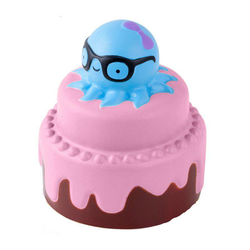 Jumbo Squishy Slow Rising Stress Relief Toy Made By Enviromental PU Replica Octopus Cake - PINK