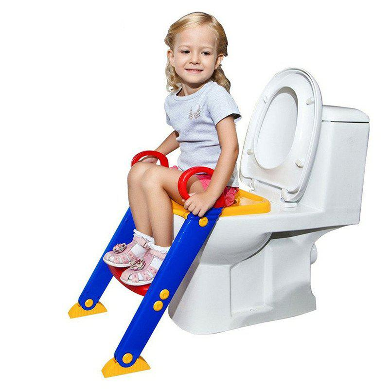 Children Toddler Foldable Kit Toilet Trainer with Ladder - RED