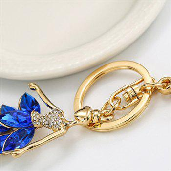 Cute Doll Angel Wings Crystal Chain Rhinestone Keyring Women Bag Charm Keychain Car Ring Pendant - BLUE