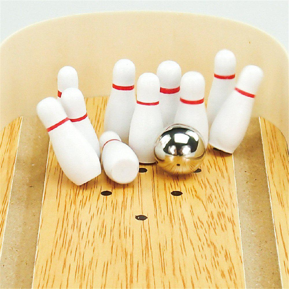 Mini Creative Woodiness Desktop Bowling - WHITE