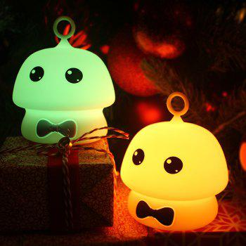 USB Charging Colorful Mushroom Silica Gel Pink AND Blue Cartoon Night Light LED On The Bedside Lamp - BLUE 9.7X9.7X11.5CM