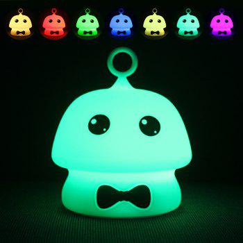 USB Charging Colorful Mushroom Silica Gel Pink AND Blue Cartoon Night Light LED On The Bedside Lamp - BLUE BLUE