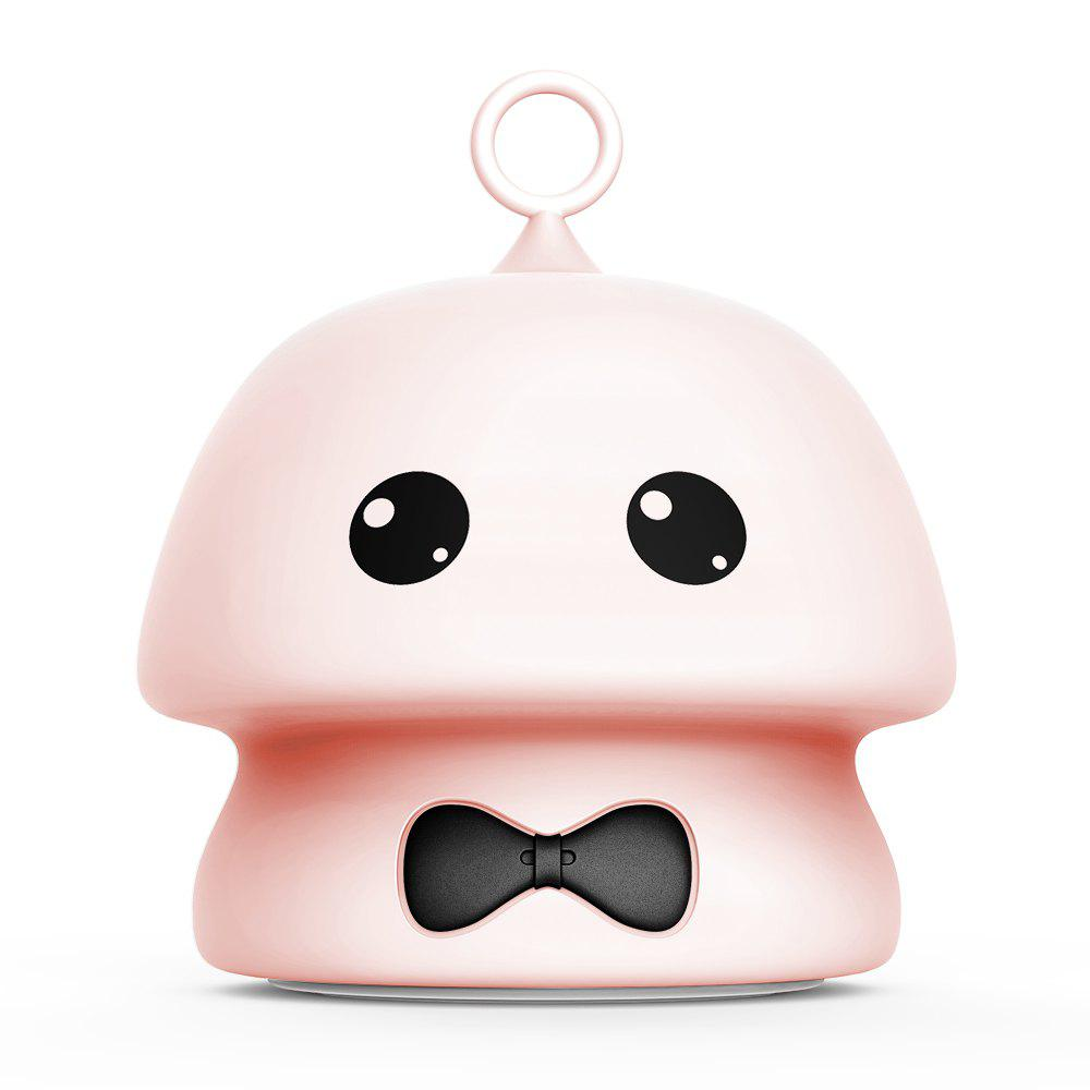 USB Charging Colorful Mushroom Silica Gel Pink AND Blue Cartoon Night Light LED On The Bedside Lamp - PINK 9.7X9.7X11.5CM