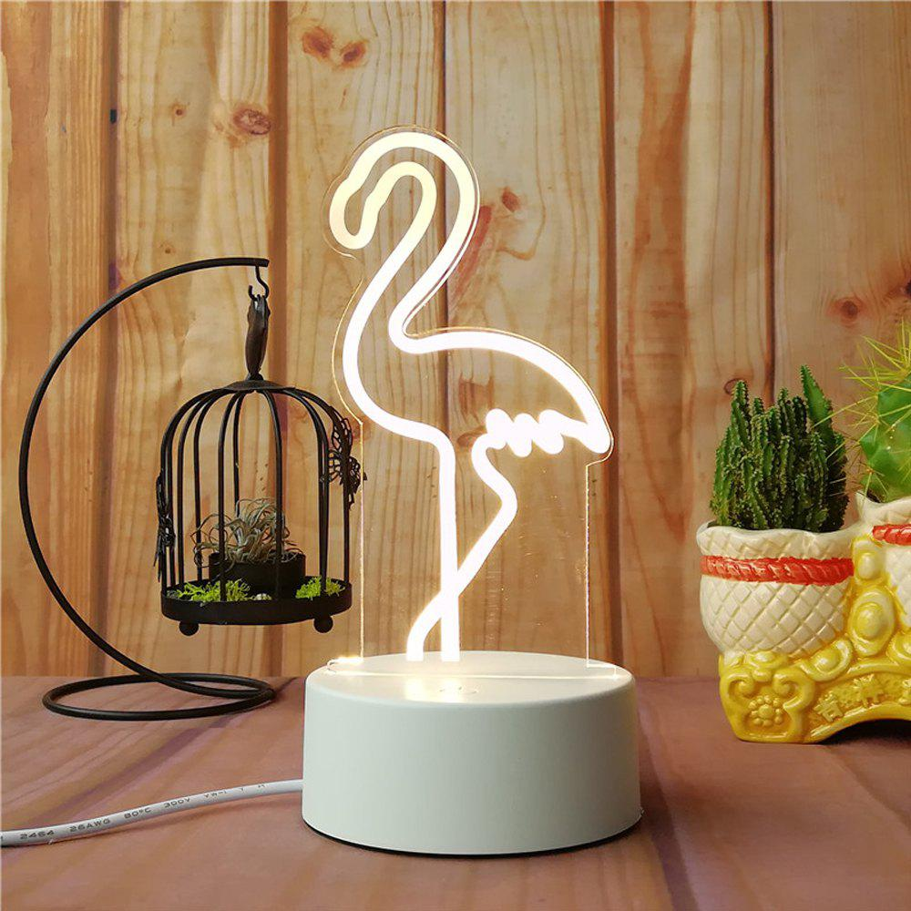 3D Flamingo Small Night Light Plug LED Stereo Bedroom Bedside Lamp - WHITE 11X11X14.5CM