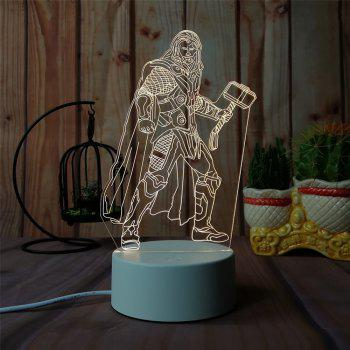 3D Thor - Night Light Plug LED Stereo Bedroom Bedside Lamp - WHITE 11X11X20CM