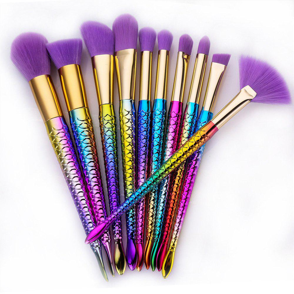 Colorful Spiral Purple Hair Mermaid Makeup Brush 10PCS - COLOR 19CM X 3CM X 2.5CM
