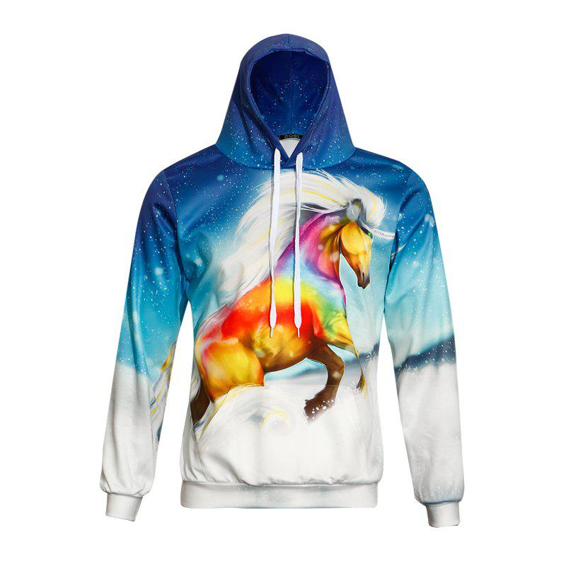 Men's 3D Printing Rainbow Horse Long Sleeves Sweatshirt - COLORFUL M