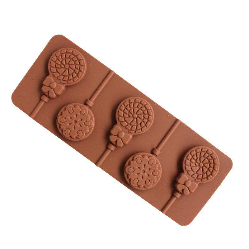 2 Pcs Shape of Dandelion and Hyacinth Silicone Lollipop Chocolate Mold - BROWN