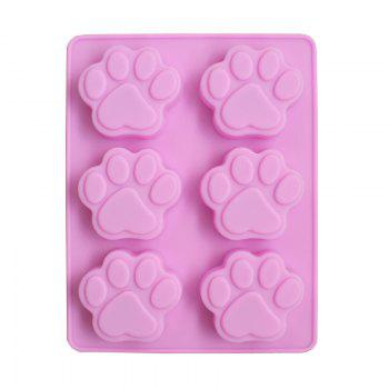 2 Pcs Six Hole Puppies Footprints Silicone Cake Soap Mold  Bakeware Tools - PINK