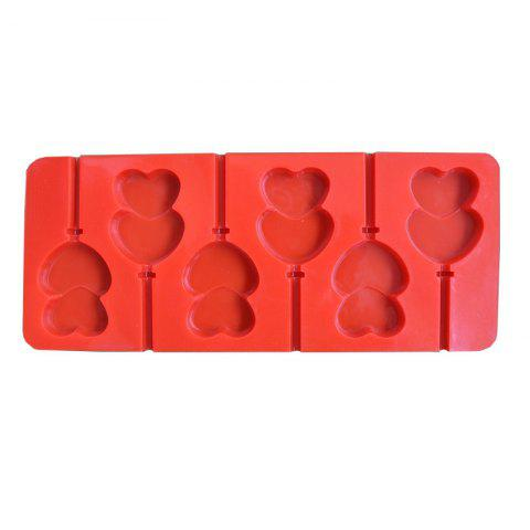2 Pcs Food Grade Silicone Double Heart Shape Mold For Chocolate Fondant Cake Cookie Jelly - RED