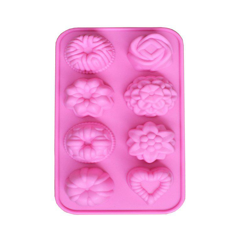 2 Pcs 8 Hole Flowers Grass Silicone Cake Jelly Mousse Decoration Baking Cold Handmade Soap Mold - PINK