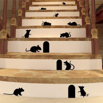 Cute Mouse Holes Vinyl Wall Stickers Room Decoration for Kids Nursery - BLACK BLACK