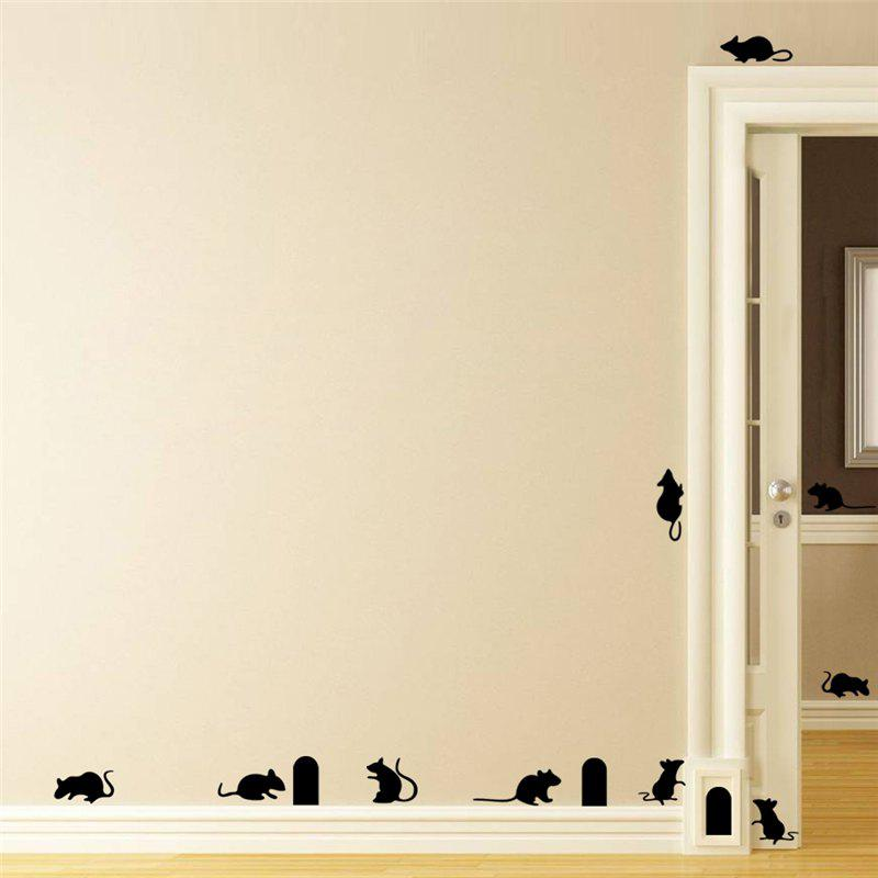 Cute Mouse Holes Vinyl Wall Stickers Room Decoration for Kids Nursery - BLACK 57 X 35CM