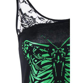 Skull Butterfly Print Lace Sleeveless T-Shirt - BLACK M