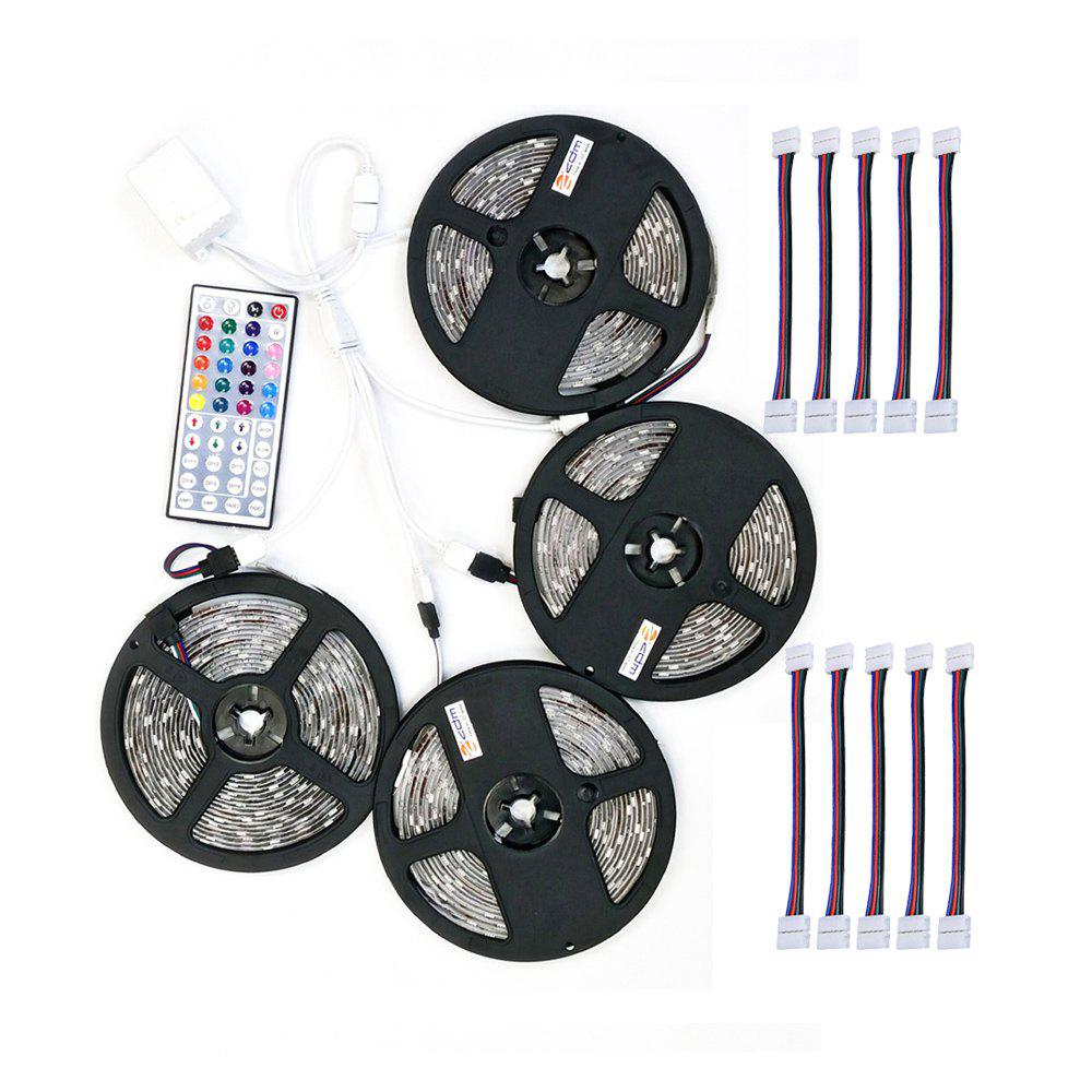 ZDM 4PCS 5M 150x5050RGB LED Strip Light 44Key IR Controller and  with 10PCS Connecting line DC12V 140W - RGB