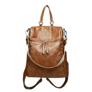 Casual Tide Zipper with Leather Ladies Backpack