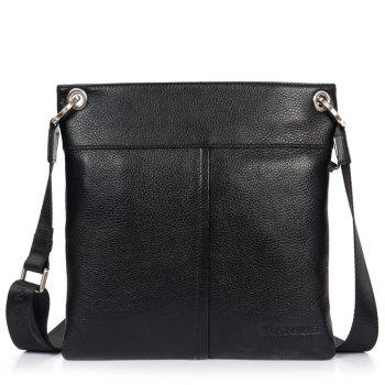 DANJUE Men Messenger Bag Genuine Leather Thin Daily Bag Casual Male Natural Leather Man Business Classic Style Bag - BLACK BLACK