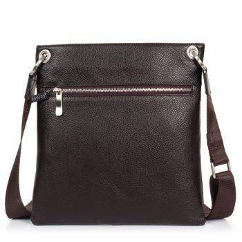 DANJUE Men Messenger Bag Genuine Leather Thin Daily Bag Casual Male Natural Leather Man Business Classic Style Bag -  BROWN