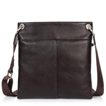 DANJUE Men Messenger Bag Genuine Leather Thin Daily Bag Casual Male Natural Leather Man Business Classic Style Bag - BROWN BROWN