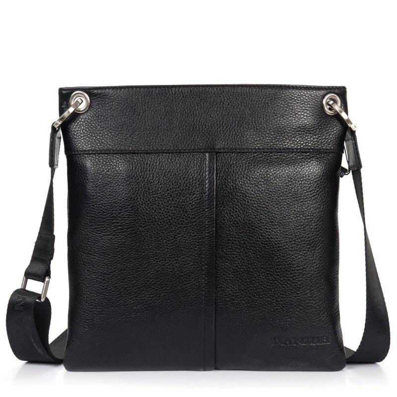 DANJUE Men Messenger Bag Genuine Leather Thin Daily Bag Casual Male Natural Leather Man Business Classic Style Bag - BLACK
