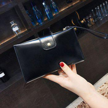 New solid color casual lock large capacity multi-walled clutch women's fashion multi-functional wallet - BLACK