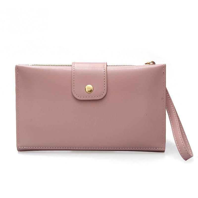 New solid color casual lock large capacity multi-walled clutch women's fashion multi-functional wallet - PINK