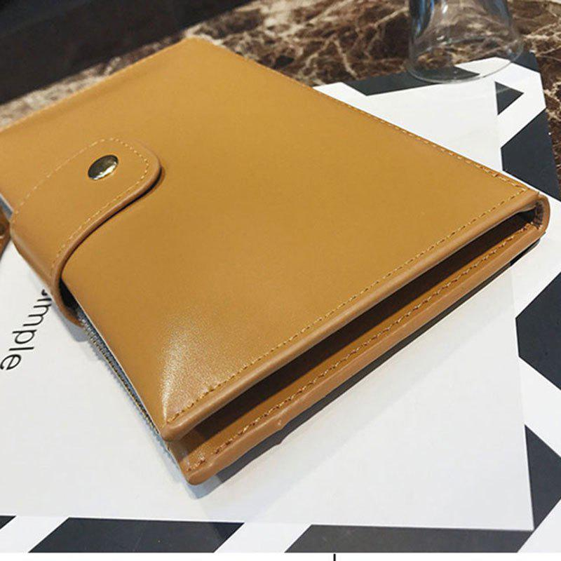 New solid color casual lock large capacity multi-walled clutch women's fashion multi-functional wallet - BROWN