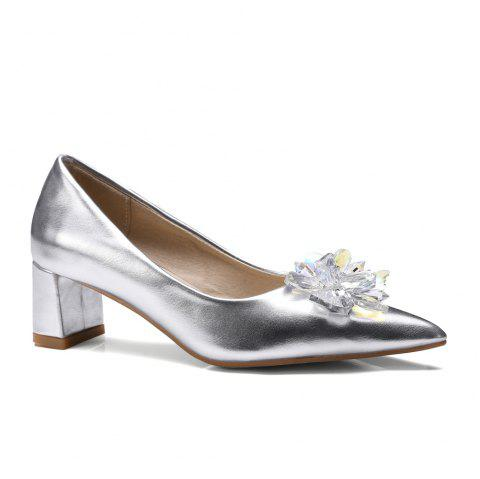 7873e2bba13 Women s Pumps Elegant Rhinestones Pointed Toe Chic Mid Thick Heel Shoes - SILVER  39