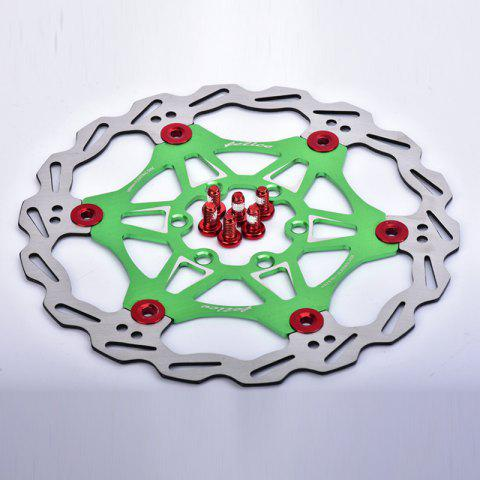MTB DH 6 Nails 160mm Color Floating Disc Brake Rotor Cycling Bicycle Rotors - GREEN 160MM X 160MM X 3MM