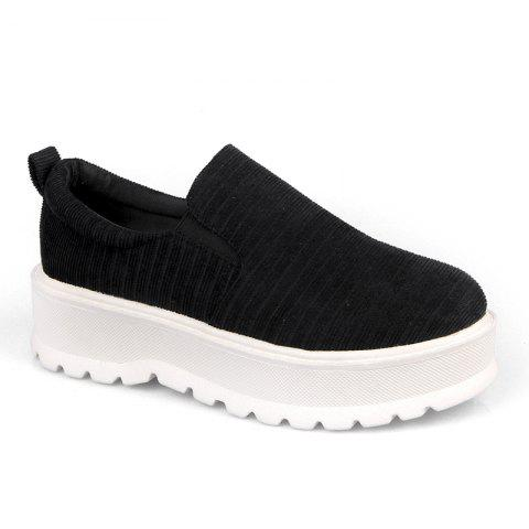 2018 New Style Fashion Round Toe Solid Color Rubber Soled Shoes - BLACK 39