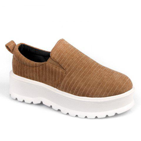 2018 New Style Fashion Round Toe Solid Color Rubber Soled Shoes - CAMEL 38