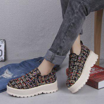 2018 New Style Fashion Round Toe Solid Color Rubber Soled Shoes - FLORAL 35