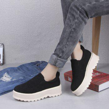 2018 New Style Fashion Round Toe Solid Color Rubber Soled Shoes - BLACK 37