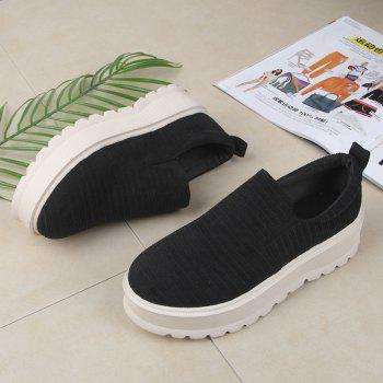 2018 New Style Fashion Round Toe Solid Color Rubber Soled Shoes - BLACK 36