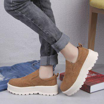 2018 New Style Fashion Round Toe Solid Color Rubber Soled Shoes - CAMEL 35