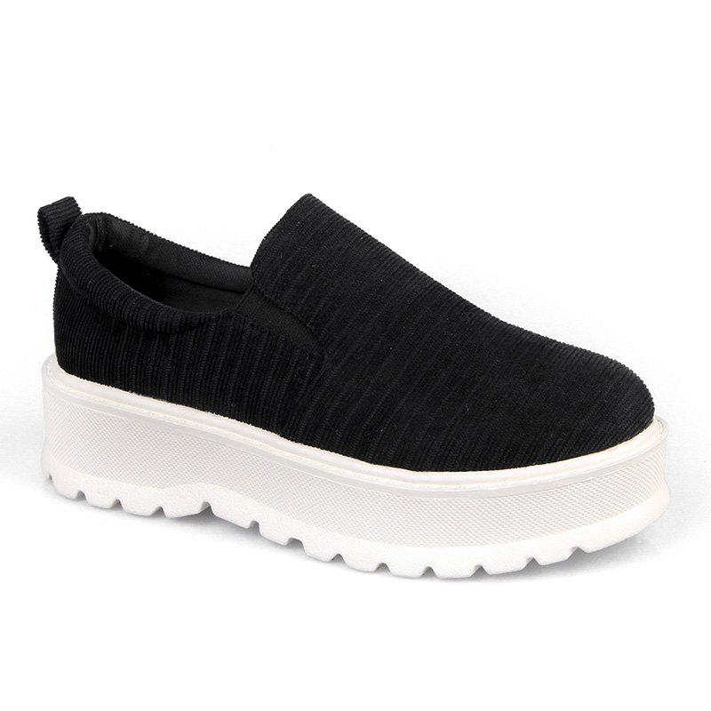2018 New Style Fashion Round Toe Solid Color Rubber Soled Shoes - BLACK 38
