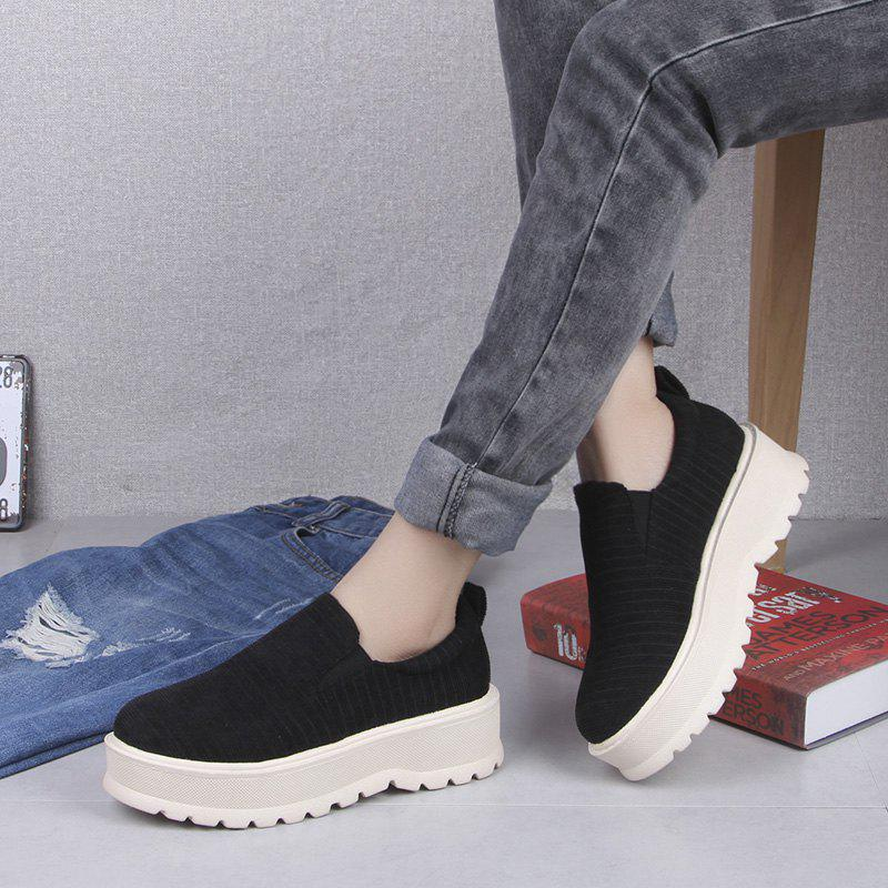 2018 New Style Fashion Round Toe Solid Color Rubber Soled Shoes - BLACK 35