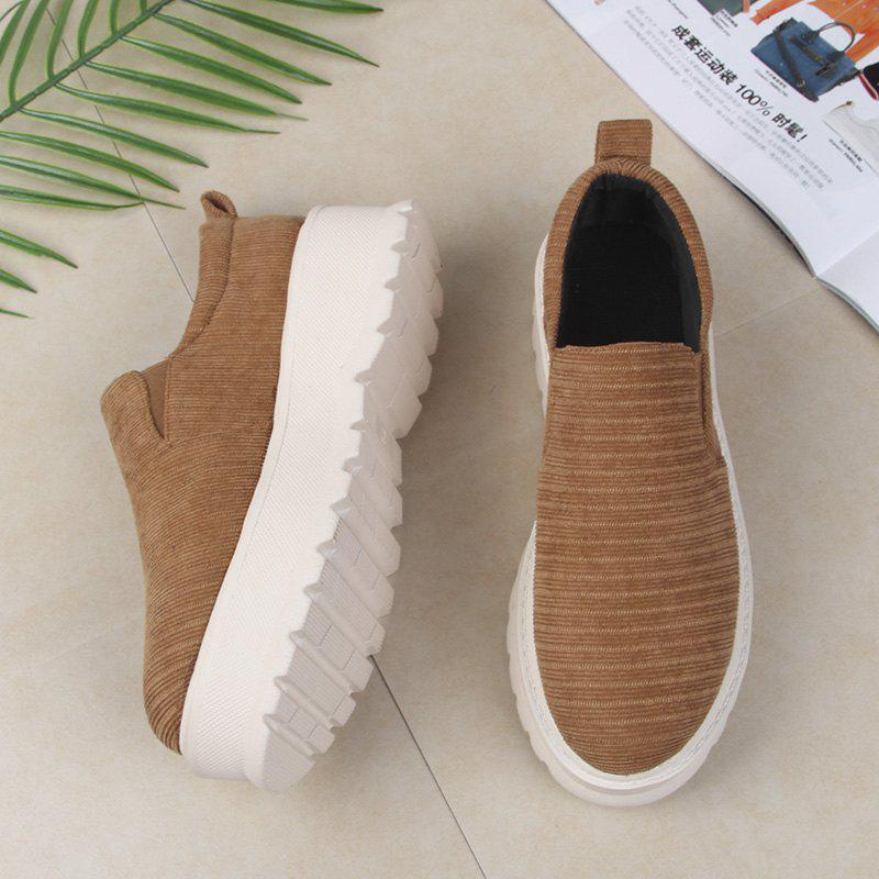 2018 New Style Fashion Round Toe Solid Color Rubber Soled Shoes - CAMEL 40