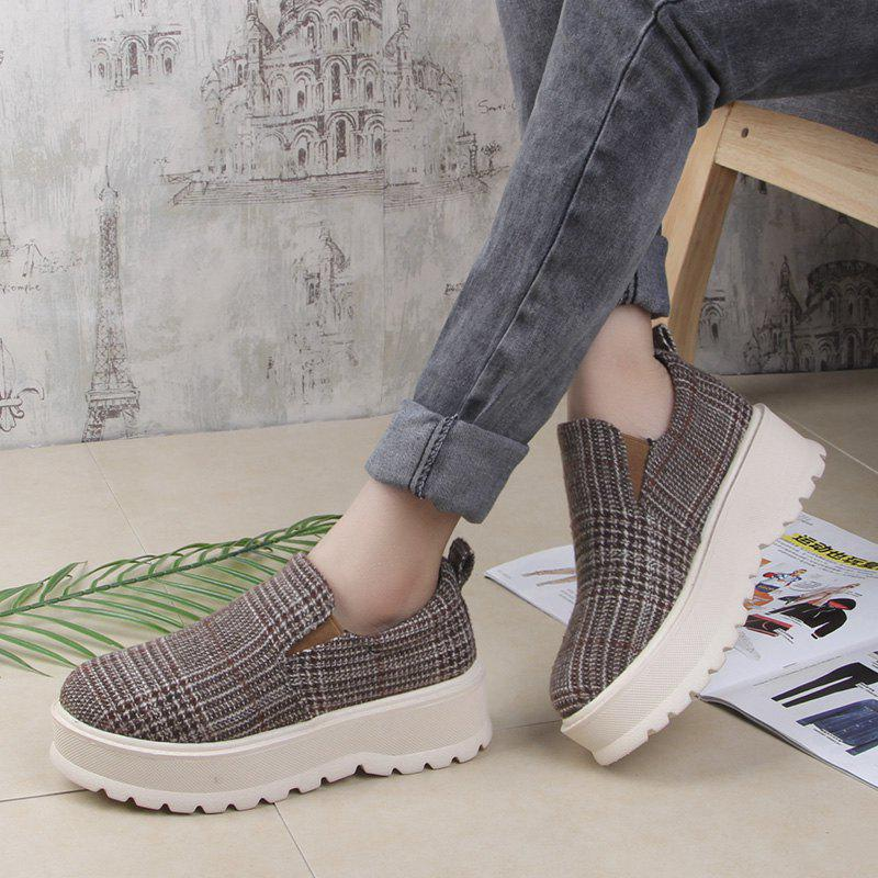 2018 New Style Fashion Round Toe Solid Color Rubber Soled Shoes - KHAKI 35