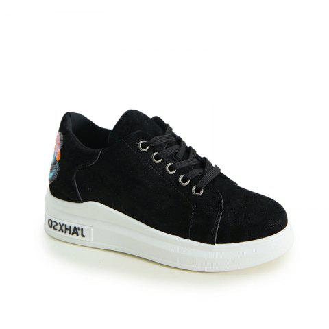 2018 New Style Simple Round Toe Solid Color Cloth Cover Shoes - BLACK 35