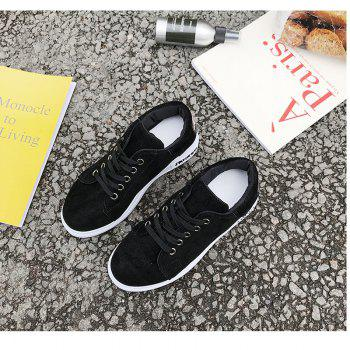 2018 New Style Simple Round Toe Solid Color Cloth Cover Shoes - BLACK 37